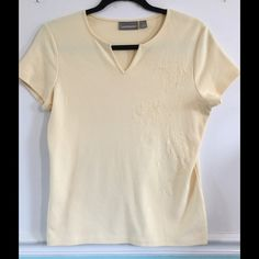 Croft and Barrow top NWOT light creamy yellow Craft and Barrow new top without tags. In a very pretty light creamy yellow. Short sleeve with v-neck slit in a scoop neck. Excellent conditions. Soft and perfect for spring. Size Small. Croft & Barrow Tops