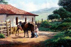 Small Farm, Landscape Paintings, Landscapes, Painted Rocks, Brazil, Camel, Beautiful Places, Horses, Fine Art