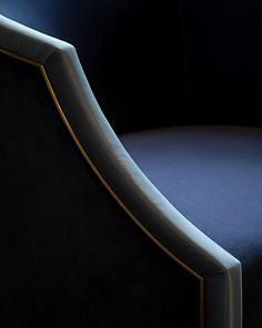 Detail of our chair design from the previous post. I love the soft curve of the arm and antique brass inlay that separates the two fabric types velvet trimmed with a tonal satin. These subtle forms and textures are what I love most about designing furniture #furnituredesign  #interiordesign #interiorstyling #luxuryinteriors #luxuryhomes #laurahammett