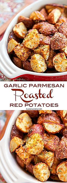 Garlic Parmesan Roasted Red Potatoes - red potatoes tossed in garlic onion paprika Italian seasoning and parmesan cheese - SO delicious! A super quick and easy side dish. Ready for the oven in minutes! Great with burgers chicken steak and pork. Baked Red Potatoes, Roasted Garlic Red Potatoes, Red Potatos In Oven, Smashed Red Potatoes, Potatoes In Oven, Steak Potatoes, Seasoned Potatoes, Red Potatoes Microwave, Red Potatoes In Crockpot