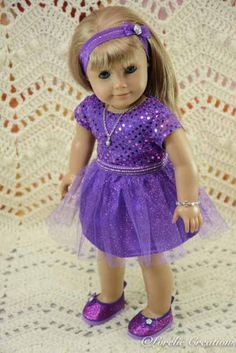 American Girl or 18 Inch Doll Cinderella Princess Special Occasion Purple 2 Piece DRESS, SHOES, JEWELRY and Headband by LorelieCreations on Etsy