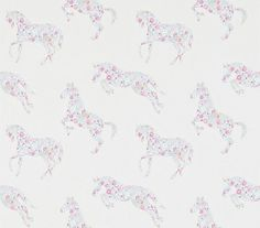 Pretty Ponies Pink/Sky (214036) - Sanderson Wallpapers - Cute pony and horse outlines, filled with tiny flowers – the perfect girly paper. Shown in the pink and sky blue  colourway. Please request sample for true colour match.
