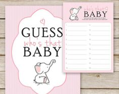 Pink Elephant Baby Shower Price is Right Game  by AspenJayDesigns