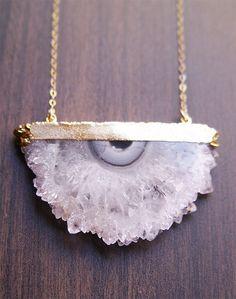 Druzy Amethyst Stalactite Necklace in Gold. $89.00, via Etsy.