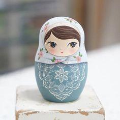 Lace Russian Nesting Dolls-5piece set Uniquely handmade