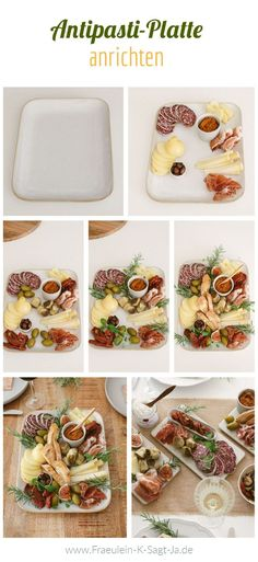 Antipasti-Platte anrichten - so einfach geht's! Unsere Anleitung wie ihr eine perfekte Antipasti Platte zubereitet. So gelingt es euch auch! Chutney, Bruschetta, Pasta Salad, Brunch, Yummy Food, Ethnic Recipes, Foodblogger, Table Settings, Artichokes