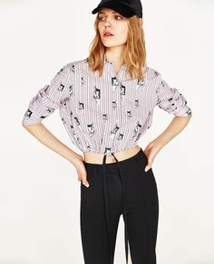 Image 1 of CATS PRINT CROPPED SHIRT from Zara