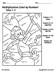 Color by Number Multiplication Worksheets for kids! Includes 4 worksheets to color in, with multiplication problems from tables 1-12. Also included is a times tables reference worksheet for kids. 1. Color by Number Worksheet 1: Color the Monkey: Times Tables 1-42.Color by Number Worksheet 2: Color t...
