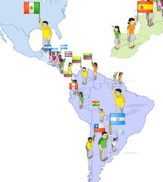 some figures with raised arms and no flags brazil portugal et al of course this source was only showing spanish speaking countries but wonder where the