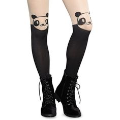 Panda-Monium Illusion Thigh-High Tights (260 UYU) ❤ liked on Polyvore featuring intimates, hosiery, tights, accessories, legs, black, sheer tights, sheer thigh high stockings, sheer stockings and thigh high tights