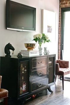 Love black lacquer; media console styling