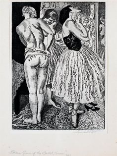 Three Graces of the Ballet, from the series Circus Prints, by Dame Laura Knight (British 1877-1970), 1927, Etching, 7½ x 9, $1200.00