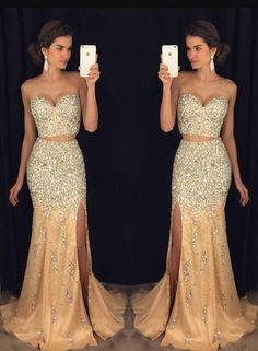 Gold Beading Prom Dresses,A-line Prom Dresses,Two Pieces Prom Dresses,Cheap Prom Dress, Vintage Prom Dresses,Sparkly Prom Dresses,Ever Pretty Prom Dress,Evening Gowns