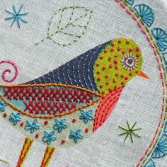A little birdie told me so! Designed and packaged by Nancy Nicholson Designs in the UK, each kit includes: - A linen/cotton mix fabric panel with the printed design - Embroidery thread in five colors Embroidered Bird, Bird Embroidery, Hand Embroidery Patterns, Embroidery Stitches, Machine Embroidery, Fabric Birds, Fabric Art, Bordado Floral, Art Textile