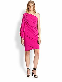 Cut25 by Yigal Azrou?l Draped One-Shoulder Stretch Jersey Dress