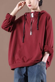 Women Casual Autumn Clothes For Red Tops Autumn Clothes, Red Tops, Autumn Tops, Hooded Jacket, Sweatshirts, Loose Fit, Fitness, Casual, Sweaters
