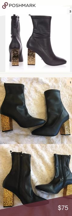 "NEW Topshop gold heel black sock Haven boots 7 Topshop Haven boots  Size 37 or 7  Heels are 3.5""  Electroplated gold heel  Black sock boots  New!!! Topshop Shoes Ankle Boots & Booties"