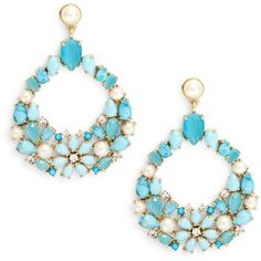 Kate Spade New York Azure Allure Statement Earrings ($128) ❤ liked on Polyvore featuring jewelry, earrings, turquoise, post drop earrings, drop earrings, statement drop earrings, post earrings and statement earrings
