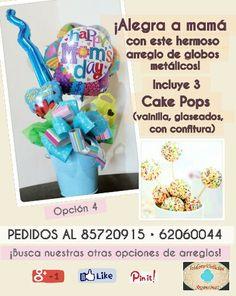 ¡Para mamá: arreglo de globos metálicos y cake pops! Opción 4.