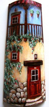 These would be pretty painted on planter pots. Tile Crafts, Clay Crafts, Diy And Crafts, Clay Houses, Ceramic Houses, Tole Painting, Painting On Wood, Decoupage, House On The Rock