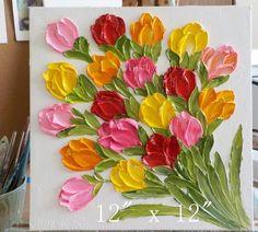 Custom Bright Tulip Oil Painting Impasto Painting 4 x Simple Oil Painting, Tulip Painting, Flower Painting Canvas, Oil Painting Flowers, Diy Canvas Art, Painting For Kids, Painting Frames, Knife Painting, Flower Paintings
