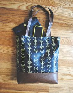 Two-tone Screenprinted Vegan Leather Tote  by ThimbleandThyme