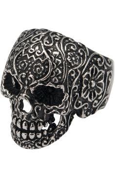 Sugar Skull Ring, £9.99    http://www.attitudeclothing.co.uk/product_32057-123-2482_Sugar-Skull-Ring.htm