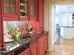 Red kitchen cabinets - butler's pantry