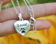Pet Memorial Necklace Loved Charm Pendant Cat Dog Paw .925 Sterling Silver Chain