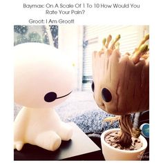 Baby Groot meets Baby Baymax so cute Disney Pixar, Disney And Dreamworks, Disney Magic, Disney Art, Walt Disney, Disney Characters, Baymax, Big Hero 6, I Am Groot