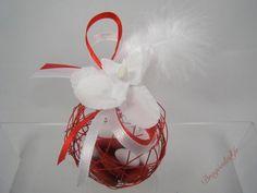 Contenants dragées rouge, Boules orchidée dragées mariage