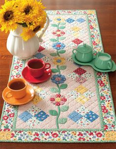 Tea for two (and pretty English paper-pieced flowers too)!