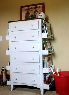 Here is a neat idea using a dresser and spice racks to create a simple storage solution. http://www.mythicpaint.com