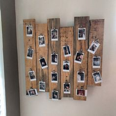 Pallet wood polaroid picture frame thing - New Deko Sites Polaroid Pictures Display, Polaroid Picture Frame, Polaroid Display, Polaroid Wall, Polaroid Photos, Pallet Picture Display, Polaroid Crafts, Polaroids On Wall, Instax Wall