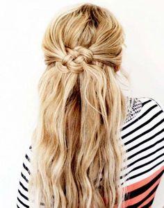 Peinado semi recogido con nudo marinero y pelo suelto