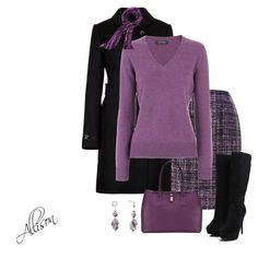 A fashion look from September 2012 featuring purple sweater, black double breasted coat and purple skirt. Browse and shop related looks.