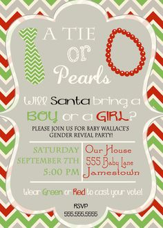 Christmas Gender Reveal Invite Ties and Pearls by DaxyLuu on Etsy