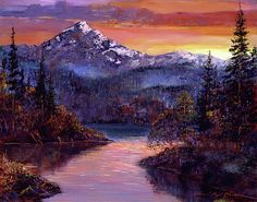 Mountains Painting - Rocky Mountain Sunset by David Lloyd Glover Mountain Sunset, Mountain Man, Victoria, Mountain Paintings, Native American History, Landscape Paintings, Impressionist Paintings, American Artists, Rocky Mountains