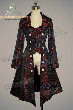 Gothic Aristocrat: Embellished-Vest Pirate Brocade Unisex Long Jacket/ Frock Coat for Lady Style Steampunk, Steampunk Costume, Steampunk Clothing, Steampunk Fashion, Gothic Fashion, Style Fashion, Steampunk Jacket, Gothic Clothing, Fashion Ideas