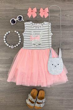 Sequin Bunny Tutu Dress – Sparkle In Pink Little Girl Outfits, Toddler Girl Outfits, Little Girl Dresses, Toddler Dress, Baby Dress, Kids Outfits, Easter Girl Outfits, Baby Tutu Dresses, Toddler Girls