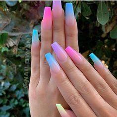 Blue Ombre Nails, Purple Acrylic Nails, Acrylic Nails Coffin Short, Summer Acrylic Nails, Light Blue Nails, Pastel Nails, Acrylic Nails Coffin Ombre, Neon Green Nails, Chevron Nails