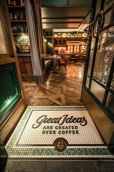 Custom mosaic logo at The Grounds of The City. Design by Acme & Co, tile supply by Olde English Tiles Modern Restaurant, Logo Restaurant, Victorian Tiles, Victorian House, Moroccan Kitchen, Geometric Tiles, Cafe Interior, Interior Design, Shop Signs