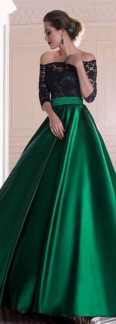 #Black #Lace #Emerald #Satin #EveningDress #Dresses #Gowns
