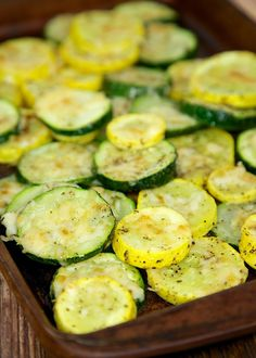Baked Parmesan Squash Recipe - simple side dish that tastes delicious! Ready for the oven in minutes. Great with grilled chicken, pork, steak and even pasta!