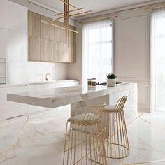 Cozinha elegante incrível com toques de ouro - KÜCHE - Modern Kitchen Design, Interior Design Kitchen, Modern Interior Design, Modern Bar, Luxury Interior, Gold Interior, Marble Interior, Contemporary Interior, Modern Decor