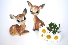 Vintage Ceramic Fawn Salt and Pepper Shakers by RusteriorDesign, $15.00