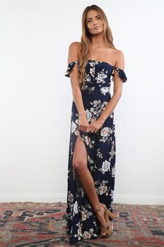 Flynn Skye Holiday 15 Bardot Maxi in Royal Rose