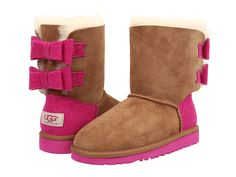 UGG Kids Bailey Bow Wool (Little Kid/Big Kid) Chestnut - Zappos.com Free Shipping BOTH Ways
