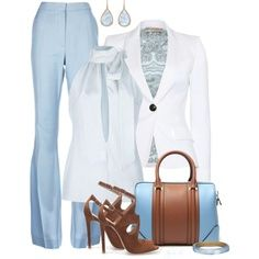 fashionable sky blue pant, white shirt and blazer