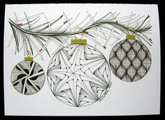 Zentangle Pattern Gallery | Tangled Ink Art: Merry Christmas & Happy New Year